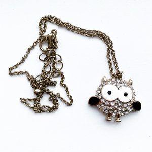 Chic gold & diamond cartoon owl pendant necklace